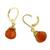 Gold plated carnelian dangle earrings, 'Grand Treasure' - Handmade 18k Gold Plated Carnelian Dangle Earrings (image 2d) thumbail