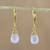 Gold plated chalcedony dangle earrings, 'Grand Treasure in Blue' - Handmade 18k Gold Plated Blue Chalcedony Dangle Earrings (image 2) thumbail