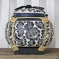 Decorative ceramic and bamboo jar, 'Floral Motion' - Decorative Handmade Blue Ceramic Bamboo Rope Jar Thailand