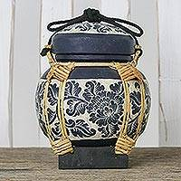 Decorative ceramic and bamboo jar, 'Petal Powered' - Handmade Decorative Blue Ceramic Jar Crafted in Thailand
