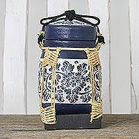 Bamboo and clay decorative jar, 'Graceful Blue Blossoms' - Decorative Handmade Floral Jar Bamboo Cotton Cord