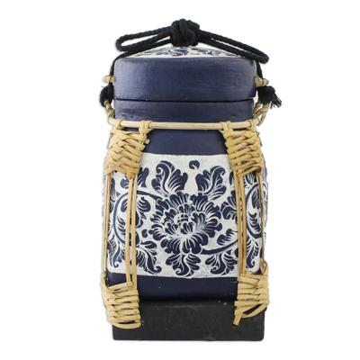 Decorative Handmade Floral Jar Bamboo Cotton Cord