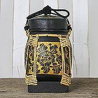 Decorative ceramic and bamboo jar, 'Graceful Black Blossoms' - Black and Gold Ceramic Floral Decorative Jar from Thailand