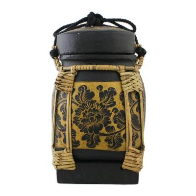 Black and Gold Floral Decorative Jar from Thailand