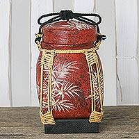 Decorative ceramic and bamboo jar, 'Blooming Bamboo Shoots' - Hand-Painted Thai Decorative Ceramic Jar with Bamboo Trim