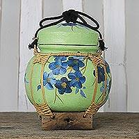 Decorative ceramic and bamboo jar, 'Springtime Blossoms' - Handcrafted Thai Decorative Ceramic Jar with Blue Flowers