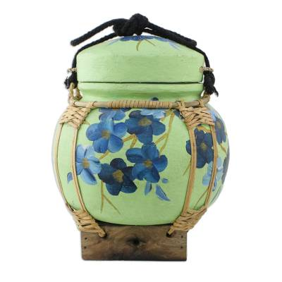 Handcrafted Thai Decorative with Blue Flowers