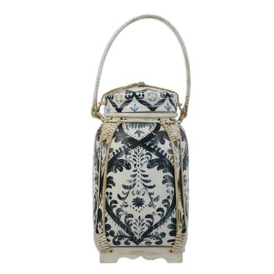Traditional Thai Blue and White Decorative Jar