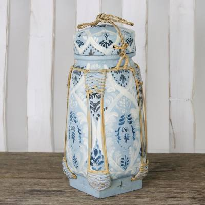 Decorative ceramic and bamboo jar, 'The Shallows' - Handmade Blue and White Ceramic Decorative Thai Jar