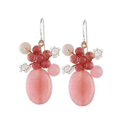 Handmade Pink Quartz Beaded Dangle Earrings from Thailand