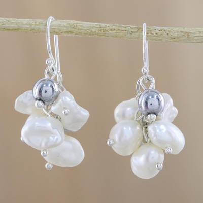 Cultured pearl and hematite cluster earrings, Harmonious Pearl