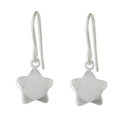 Sterling silver dangle earrings, 'Charming Star' - Handmade 925 Sterling Silver Star Dangle Earrings Thailand