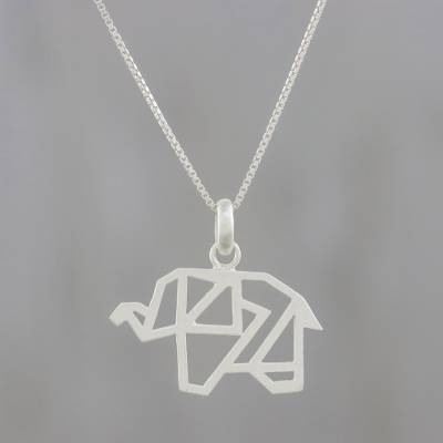 Sterling silver pendant necklace, 'Blessed Elephant' - Handmade 925 Sterling Silver Abstract Elephant Necklace