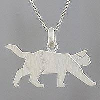 Sterling silver pendant necklace, 'Slow Prowl'