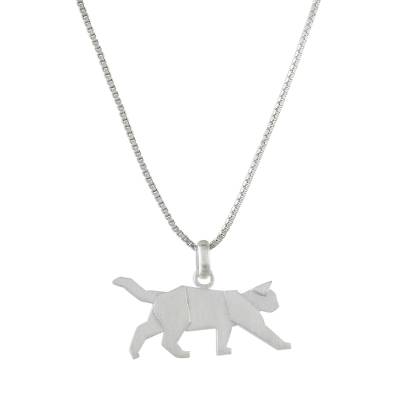 Sterling silver pendant necklace, 'Slow Prowl' - Handmade 925 Sterling Silver Prowling Cat Pendant Necklace