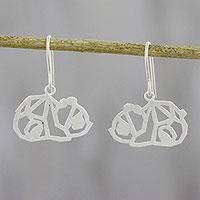 Sterling silver dangle earrings, 'Little Panda'