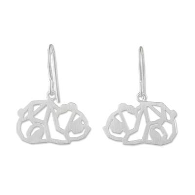 Sterling silver dangle earrings, 'Little Panda' - Handmade 925 Sterling Silver Panda Dangle Earrings Thailand