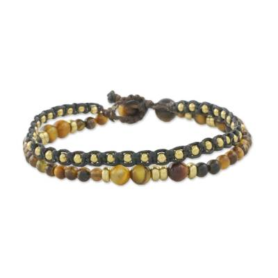 Tiger's eye beaded bracelet, 'Evermore' - Double Strand Tiger's Eye Beaded Macrame Bracelet