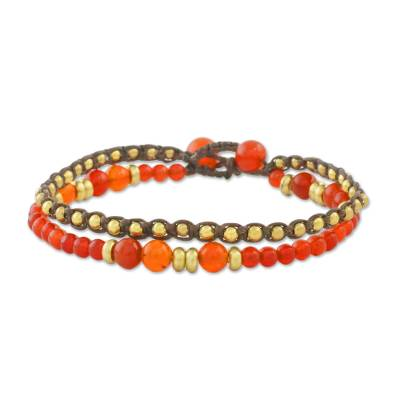Double Strand Orange Quartz Beaded Macrame Bracelet