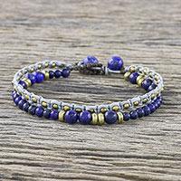 Lapis lazuli beaded bracelet, 'Evermore' - Double Strand Lapis Lazuli Beaded Macrame Bracelet