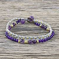 Amethyst and dyed quartz beaded bracelet, 'Evermore'