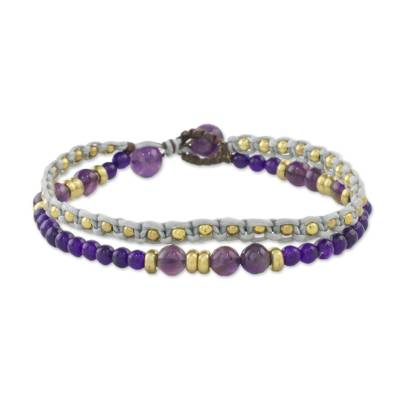 Amethyst and Purple Quartz Beaded Macrame Bracelet