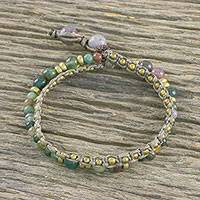 Agate beaded bracelet, 'Evermore' - Double Strand Agate Beaded Macrame Bracelet