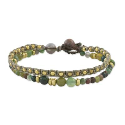 Double Strand Agate Beaded Macrame Bracelet