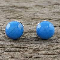 Magnesite stud earrings, 'Paradise Lagoon' - Handmade 925 Sterling Silver Magnesite Stud Earrings