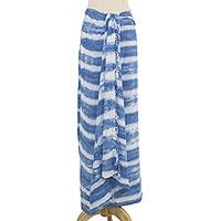 Rayon tie-dye sarong, 'Modern Stripes' - Handmade Tie Dye Rayon Sarong in Denim Blue