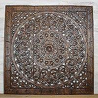 Teakwood relief panels, 'Native Elegance' (set of 3) - Set of Three Floral Teakwood Relief Panels from Thailand