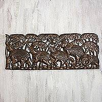 Teakwood relief panel, 'Five Elephants' - Elephant-Themed Teakwood Relief Panel from Thailand