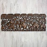 Teakwood relief panel, 'Eight Elephants' - Teakwood Relief Panel of Elephants from Thailand