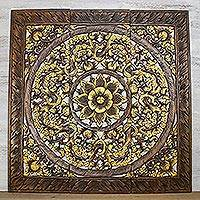 Teakwood relief panels, 'Native Elegance in Gold' (set of 3) - Three Floral Teakwood Relief Panels in Gold from Thailand