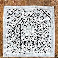 Teakwood relief panels, 'Native Elegance in White' (set of 3) - Three Floral Teakwood Relief Panels in White from Thailand