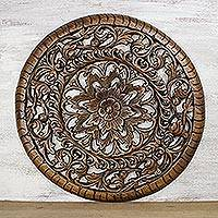 Teakwood relief panel, 'Forest Circle' - Circular Floral Teakwood Relief Panel from Thailand