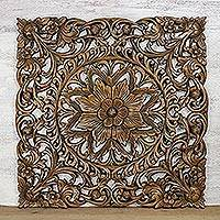 Teakwood relief panel, 'Charming Nature' - Hand-Carved Floral Teakwood Relief Panel from Thailand