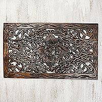 Teakwood relief panel, 'Floral Wall' - Flower Motif Teakwood Relief Panel from Thailand