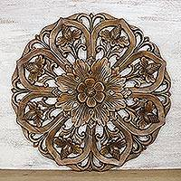 Teakwood relief panel, 'Charming Lotus' - Hand-Carved Floral Teakwood Relief Panel from Thailand