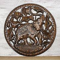 Teakwood relief panel, 'Elephant and Lotus' - Hand-Carved Teakwood Elephant Relief Panel from Thailand
