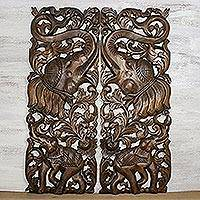 Teakwood wall relief panels, 'Trumpeting Elephants' (pair) - Handmade Teakwood Wall Relief Panel Pair Elephants
