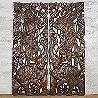 Teakwood wall relief panels, 'Sawasdee Elephant' (pair) - Handmade Teakwood Wall Relief Panels Pair Sawasdee Elephants