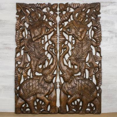 Teakwood wall relief panels, 'Sawasdee Elephant' (pair) - Handmade Teakwood Wall Relief Panels Pair Sawasdee Elephants