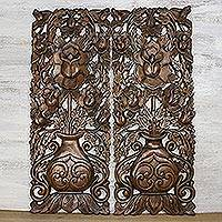 Teakwood wall relief panels, 'Harmonious Rose' (pair) - Handmade Teakwood Carved Floral Wall Relief Panels Pair