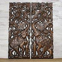 Teakwood wall relief panel, 'Dancing Lotus Elephant' (pair) - Handmade Lotus Elephant Teakwood Wall Relief Panels Pair