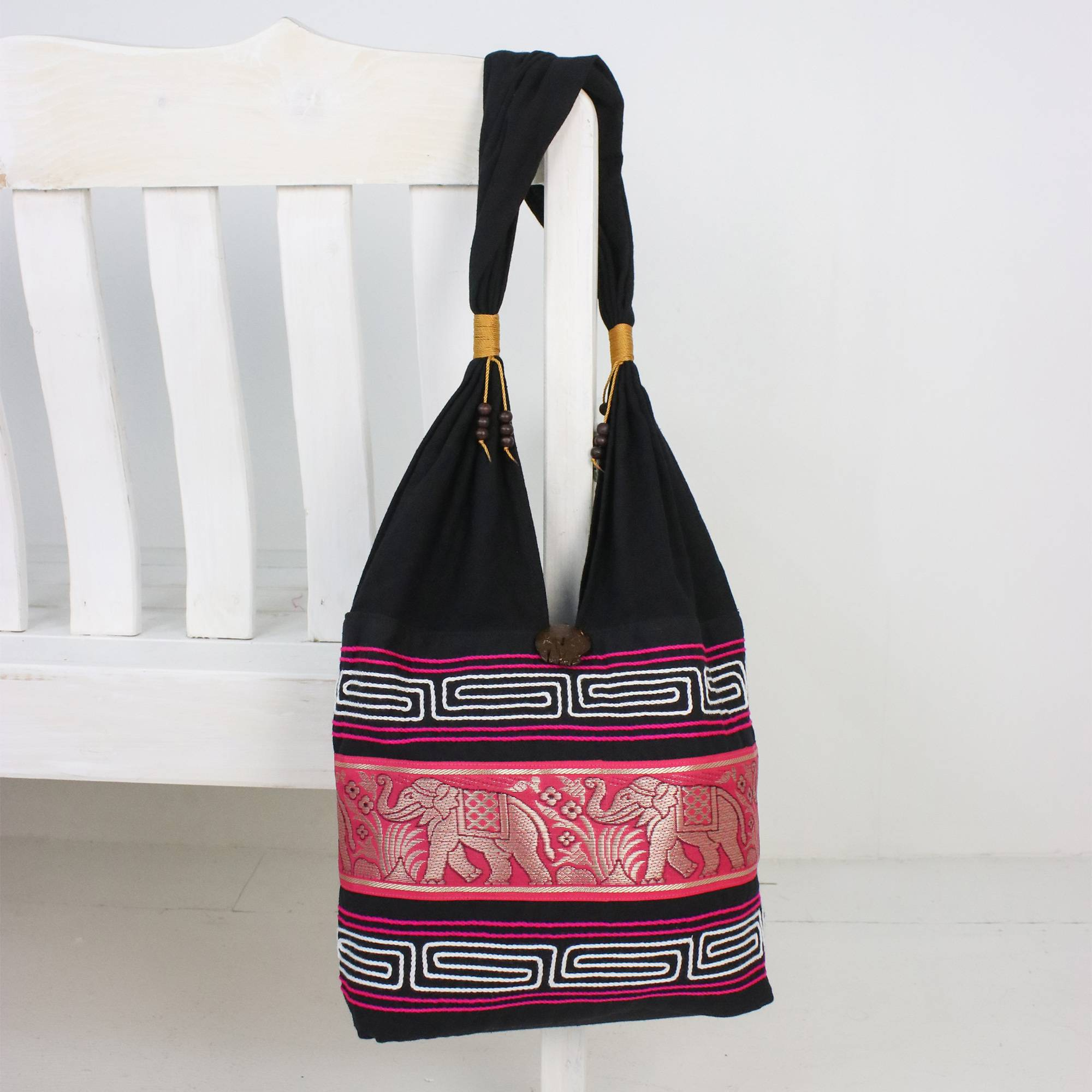 Elephant Cotton Blend Shoulder Bag In Ruby From Thailand Thai Elephants