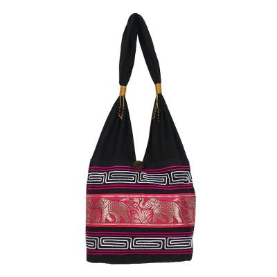 Novica Cotton blend shoulder bag, Thai Elephants in Ruby