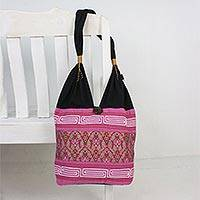 Cotton blend shoulder bag, 'Charming Thai in Fuchsia' - Floral Cotton Blend Shoulder Bag in Fuchsia from Thailand