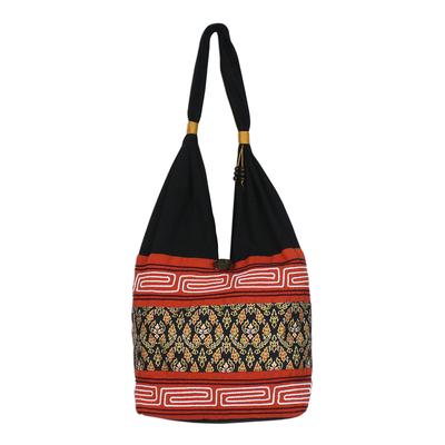 Floral Cotton Blend Shoulder Bag in Paprika from Thailand
