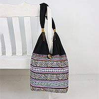 Cotton shoulder bag, 'Thai Spirals' - Multicolored Embroidered Cotton Shoulder Bag from Thailand